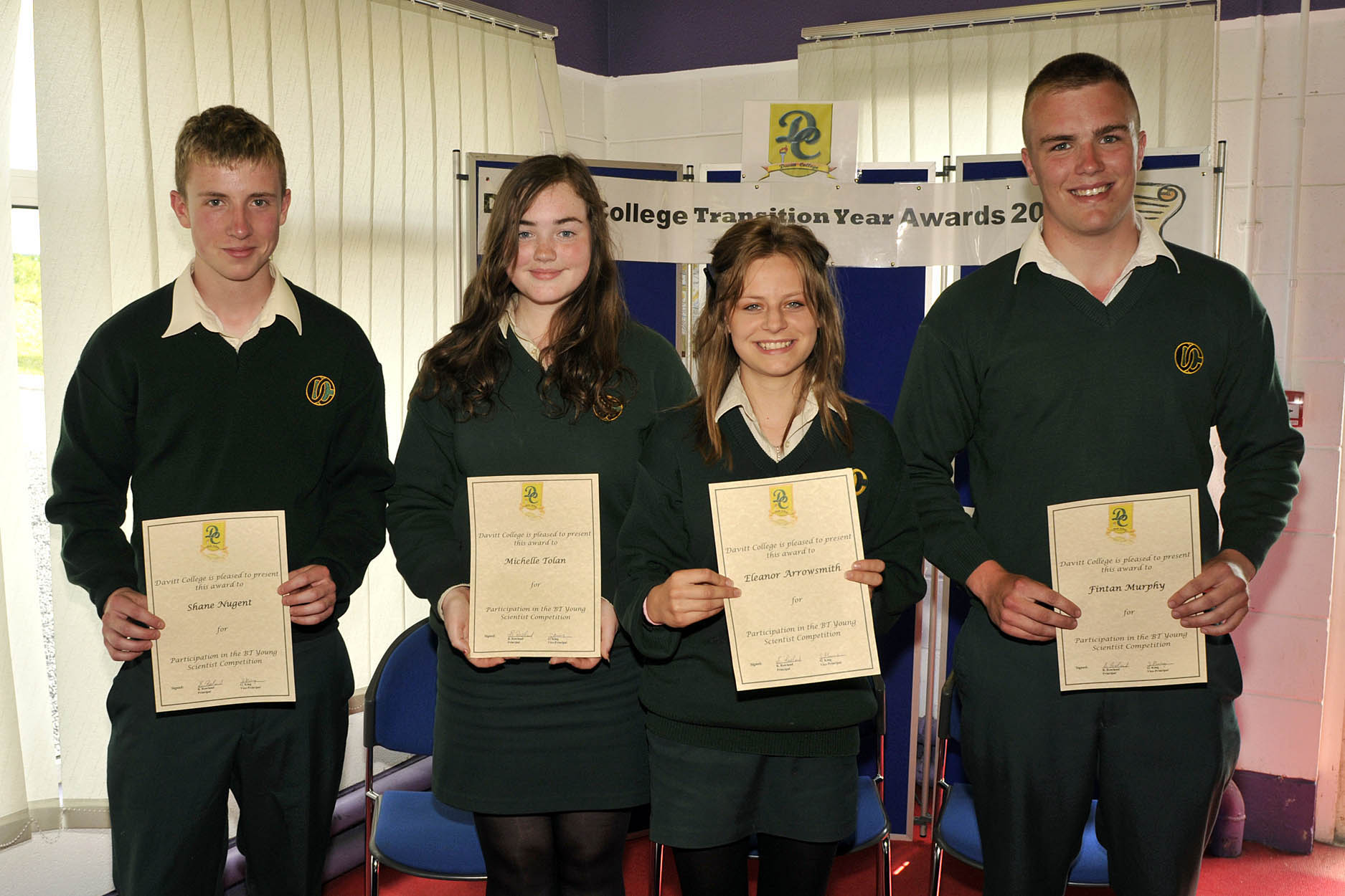 Davitt College Transition Year awards, BT Young Scientist award l-r; Shane Nugent, Michelle Tolan, Eleanor Arrowsmith and Fintan Murphy . Photo © Ken Wright Photography 2012.