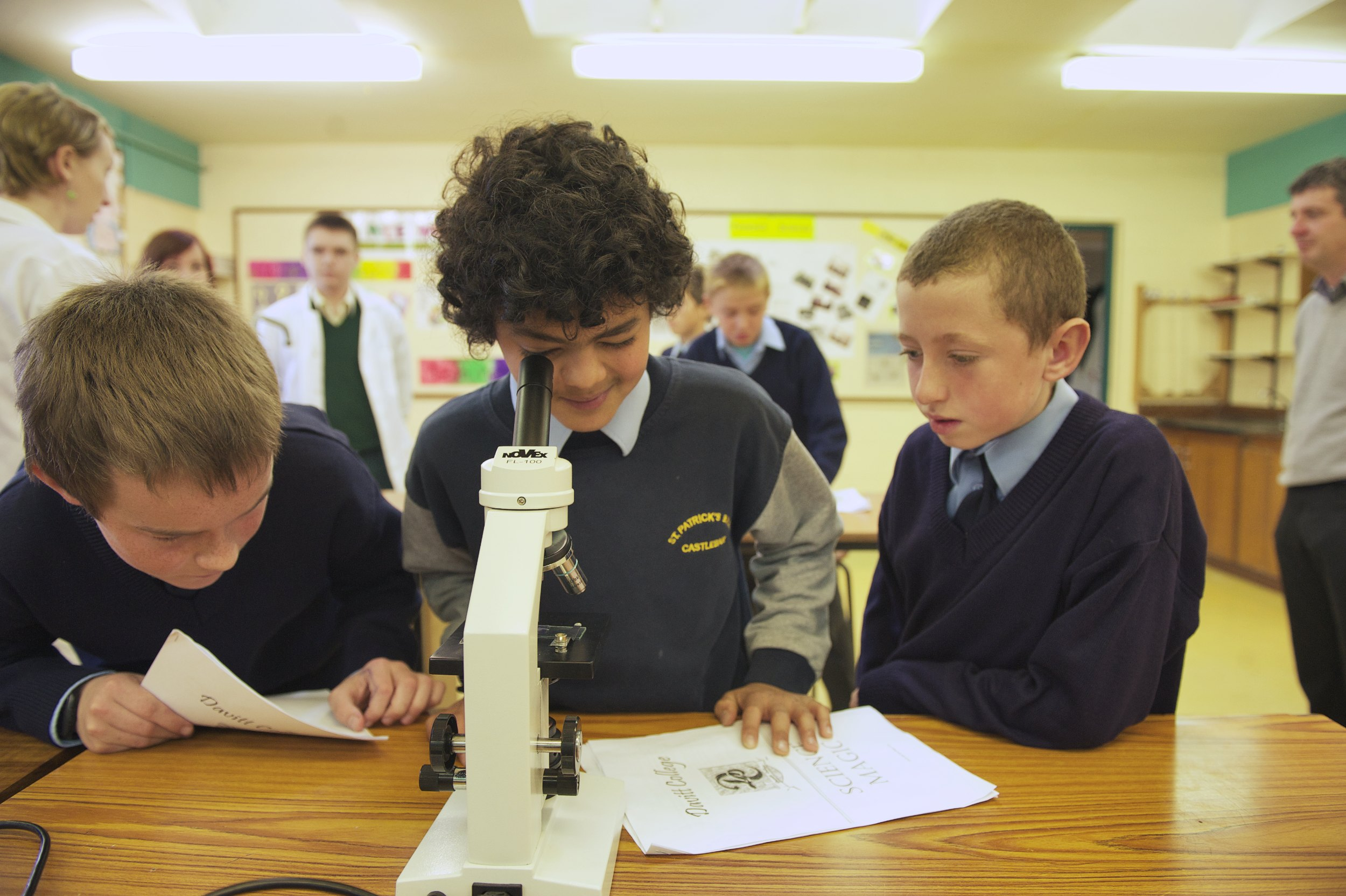 Boys from St. Patricks School, Castlebar examine plant cells during Science Week at Davitt College. This was just one in a range of Science Experiments and Computer Programming events that took place over the three day science and technology event.