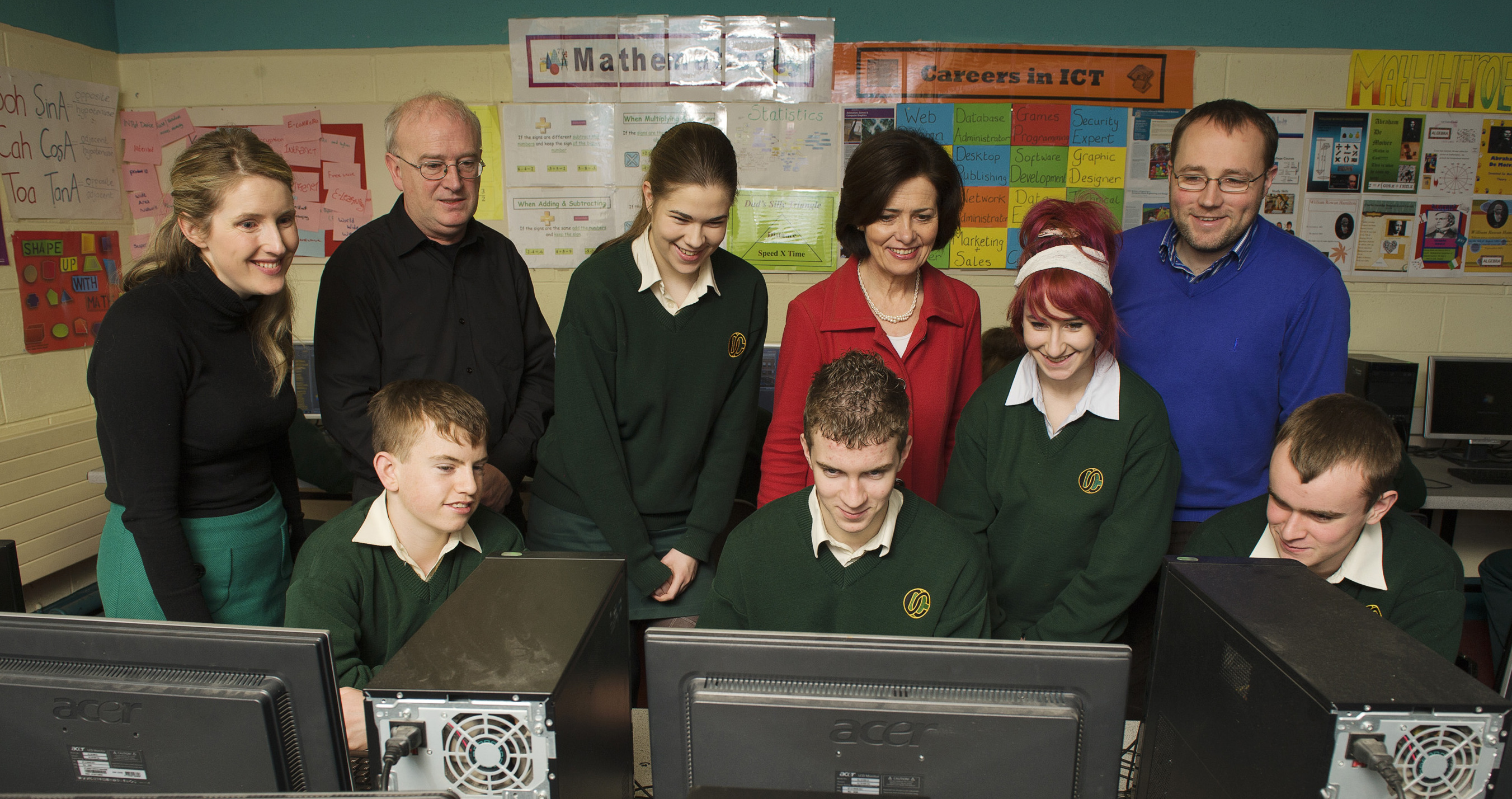 Pictured at the Davitt College launch of the new Computer Programming Module: (front Row) Transition Year students Michael Flatley, Sean Murphy and Ross Chambers. (Back Row) Ms. Emma Nestor, ICT and Programming Teacher; Mr. Brendan Smith, NUI Galway; TY student Aoife Doyle; Ms. Bernie Rowland, Principal, Davitt College; TY student Melissa Duffy and Mr. Niall O'Connor , teacher of Maths and ICT Co-Ordinator.