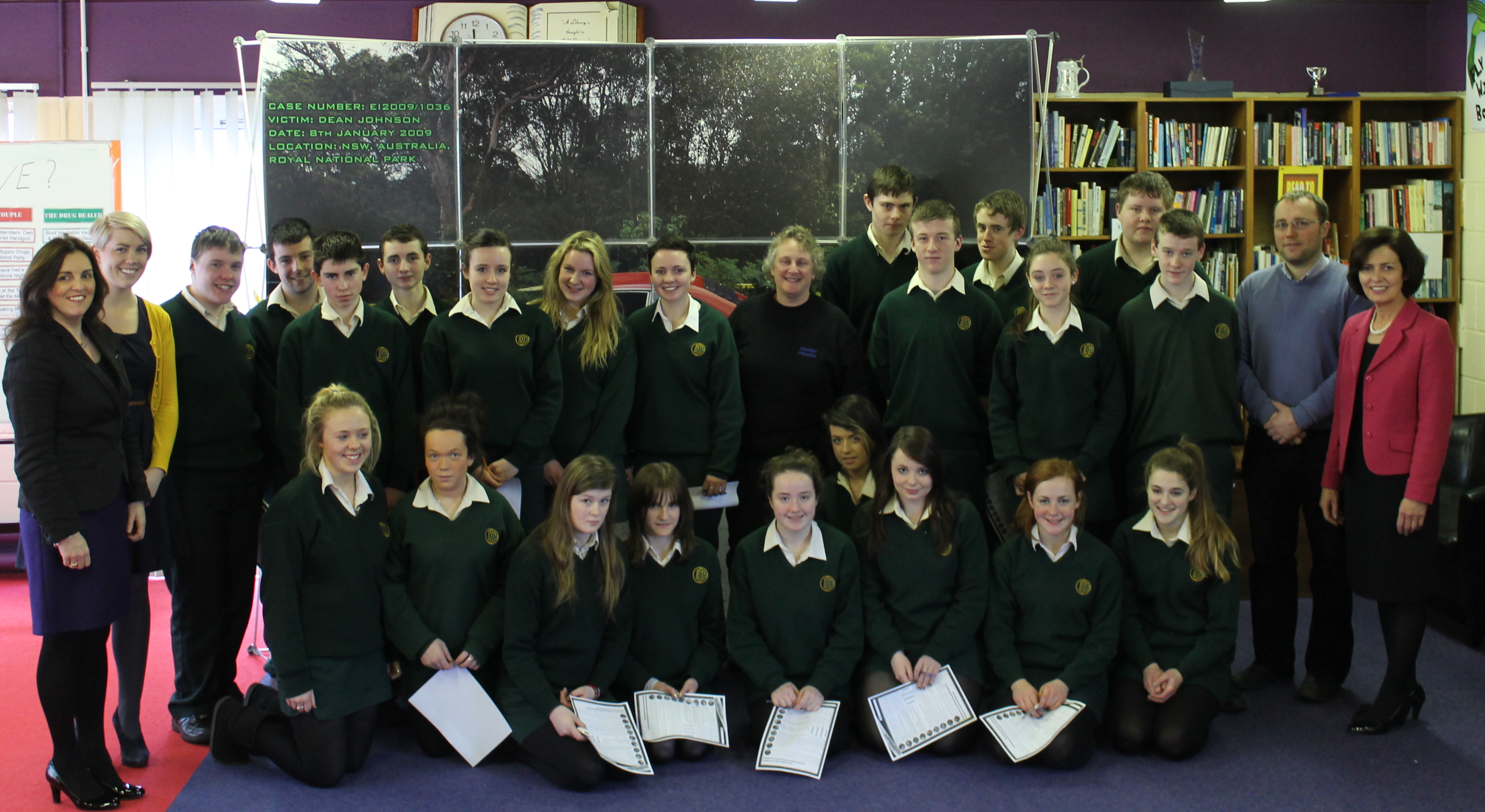 Pictured at the Forensic Science Workshop are Ms. Bernie Rowland, Principal, Davitt College; Ms. Alison Leck, Forensic Scientist; Davitt College Science Teachers and Transition Year students.