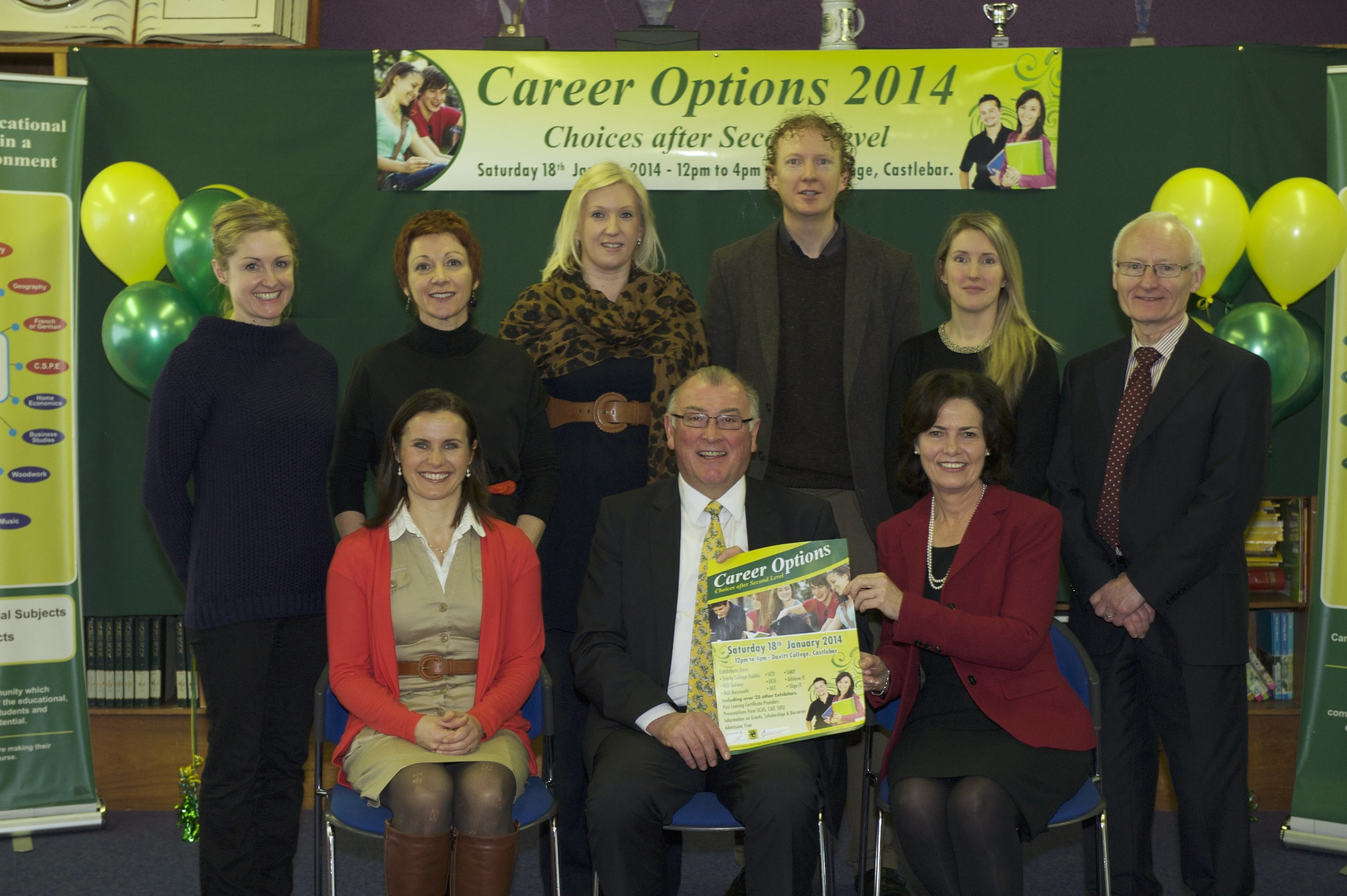 Pictured launching Career Options 2014 at Davitt College, Castlebar were (Back row): Ms. Aine Coyne, Davitt College Organising Committee; Ms. Bernie Lennon, Davitt College Organising Committee; Ms. Tara O'Brien, Davitt College Organising Committee; Mr. Fiachra MacGabhann, Castlebar College of Further Education; Ms. Emma Nestor, Davitt College Organising Committee; ); Mr. Ger King, Deputy Principal, Davitt College. (Front row): Ms. Ruth Carney, Davitt College Organising Committee; Mr. Seosamh Mac Donncha, Chief Executive Officer, Mayo, Sligo and Leitrim Education and Training Board; Ms. Bernie Rowland, Principal, Davitt College