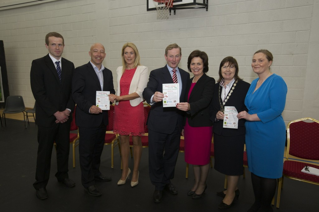 Pictured at the launch of the Health Promoting School Initiative was: (From Left) Mr. Dermot McGarry, PE Teacher, Davitt College; Mr. Charlie Lambert, Mayo Sports Partnership; Ms. Sinead Flynn, PE Teacher, Davitt College; An Taoiseach Enda Kenny TD; Ms. Bernie Rowland, Principal Davitt College; Mrs. Noreen Walsh, National President of Soroptimist Ireland, Ms. Gillian Berry, CROI