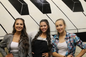 Davitt College's 2015 production of Thank Abba for the Music – Sal Heneghan (Tanya), Adele Kearney (Donna), and Catherine Staunton (Rosie) are pictured ahead of their final performance in the Davitt College Musical