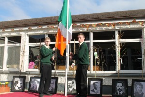The National Flag of Ireland is raised by Fifth Year students Michael Graven and Eoin O'Doherty