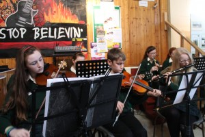Members of the Davitt College Orchestra performing during the 1916 Celebrations