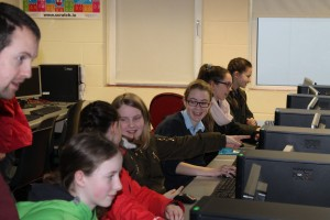 Mr. Aaron Tonry, ICT, Maths and Science Teacher at Davitt College explains a computer program to students from Derrywash Primary School , Castlebar during the Computer Programming Section of The Science & Technology Fair 2016 at Davitt College, Castlebar