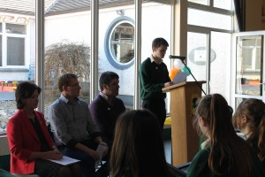 Leaving Certificate student Thomas Mongey reads the Proclamation during the 1916 Commemorations
