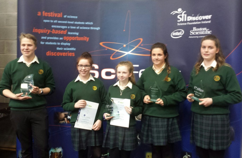 Congratulations to Davitt College Student Andrey Connolly, Jane Ryder, Therese Gallagher, Clodagh Hegarty and Aoife Parsons who were successful at the 2016 Scifest Competition held in Sligo Institute of Technology on Wednesday 11th May 2016.