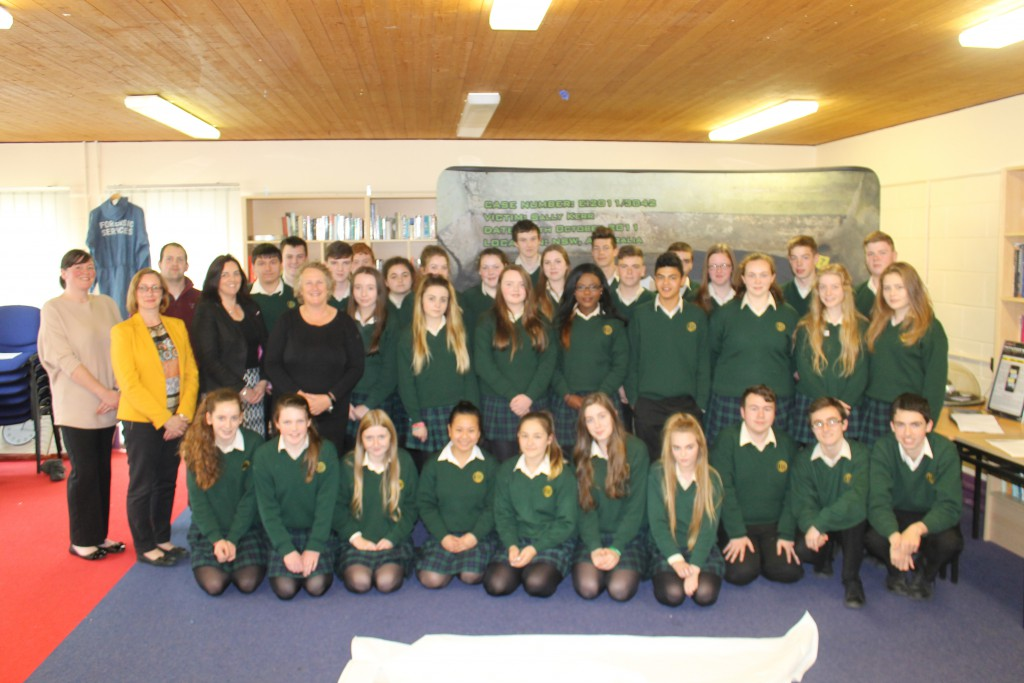 Pictured at the Forensic Science Workshop are Ms. Pauline Boyle, Biology and Agricultural Science Teacher; Ms. Martina Kelly, Chemistry and Biology Teacher; Mr. Aaron Tonry, Physics Teacher; Mrs. Caitriona O'Donnell, Chemistry Teacher; Ms. Alison Leck, Forensic Scientist and Transition Year students participating in the workshop.