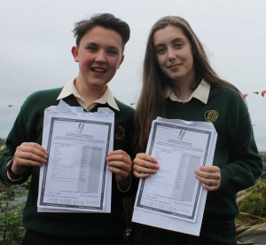 Luke Horkan and Claire McHale of Davitt College, Castlebar are joyous after receiving their Junior Certificate results 2016.
