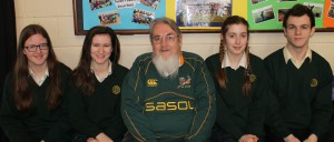Davitt College Transition Year Students (from left), Chloe Bright, Emma Barrett, Claire McHale and John Feeney are pictured with their mentor and tutor Mr. Liam Egan, ahead of the All-Ireland Quarter Finals of the Concern Public Speaking and Debating Competition 2017.